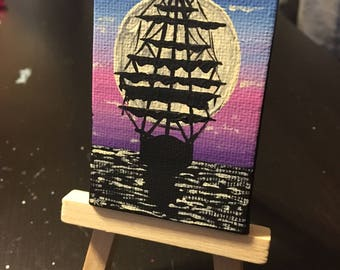 Mini Pirate Ship Painting | Optional Mini Easel Stand | Desk Art | Bookcase Art | Mini Art | Small Artwork |