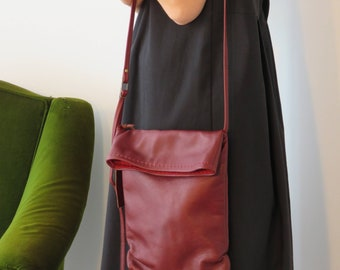 Red Crossbody Bag, Leather Crossbody Bag, Leather Crossbody Purse, Designer Crossbody Bag, Medium Size Bag, Fold Over Bag, Bag For Women