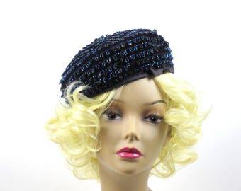 Navy Velvet  French Beret, Iridescent Bead Hat, Mr. Rickie Original, Made in France