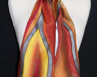 Orange Silk Scarf. Brown Hand Painted Silk Shawl. Terracotta Handmade Silk Scarf ITALIAN SUMMER. Size 8x54. Birthday, Anniversary Gift.