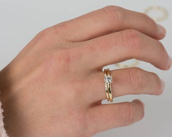 solitaire diamond ring set 14k yellow gold set wedding ring set diamonds engagement - Dainty Wedding Rings