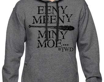 Men's Negan Eeny Meeny Miny Moe The Walking Dead Pullover Hoodie Charcoal Hooded Sweatshirt