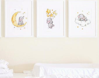Elephant nursery art, Baby Elephant Prints, Stars Print, Elephant Stars Art, Kids Wall Decor