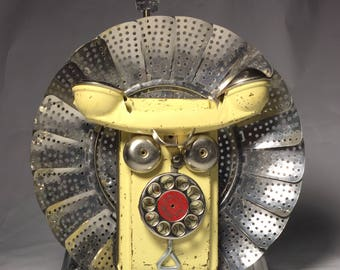 Party Lion - Assemblage Art Wizard of Oz Robot Cowardly Lion Sculpture