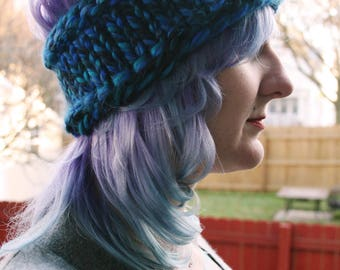 Super Chunky Knitted Winter Headband  - Blue Tones Knit Ear Warmer