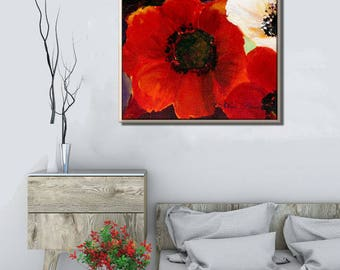 Canvas Print Red Wall Art, Floral Canvas Art, Flower Wall Art, Red Wall Decor Flower Art, Floral Wall Art, Floral Print, Floral Artwork