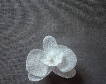 Accessory hair clip bridal hair accessories bridal bridesmaid Orchid linen white flower rhinestone silver holiday evening ceremony