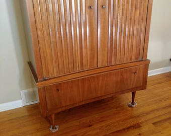 Mid Century Curved Front Highboy Dresser