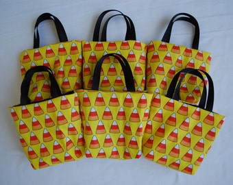 Set of 6 Halloween Fabric Gift Bags/ Halloween Party Favor Bags/ Halloween Goody Bags- Candy Corn on Yellow