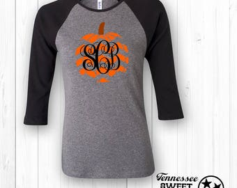 monogram chevron pumpkin fall raglan thanksgiving tee halloween shirt baseball tee - Halloween Shirts For Ladies