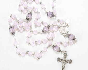 First Communion Rosary Handmade Gift for Girls - Pink Opal Swarovski Crystal, Delicate Crucifix, Sterling Silver - Custom, Heirloom Rosaries