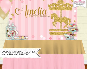 Printable Carousel Backdrop | Party Banner | Poster | Signage | Personalised | Printable Backdrop | Birthday Backdrop