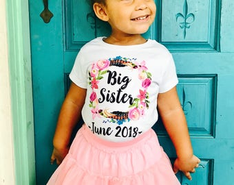 Big Sister Shirt With Date, Big Sister Announcement, Big Sister Outfit, Big Sister Gifts For Toddlers, Big Sister Shirt, Big Sis Outfit