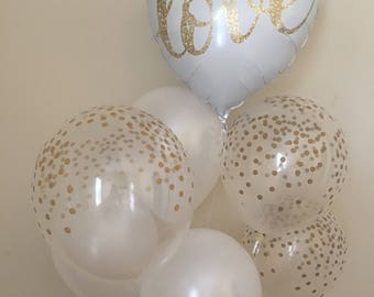 Wedding balloon etsy love balloon bouquetgold confetti look balloonswedding balloonsbridal shower balloon junglespirit Gallery
