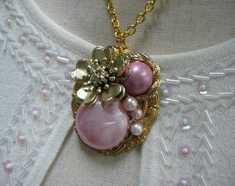 vintage upcycled necklace, assemblage, statement necklace, enamel brooch, pink gold, repurposed jewelry, reclaimed, recycled ooak/ N183