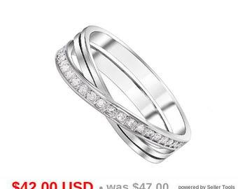 Infinity Wedding Band Criss Cross Wedding Band Сurved Wedding Band Stacking Wedding Band CZ Infinity Ring Criss Cross Ring Eternity Ring