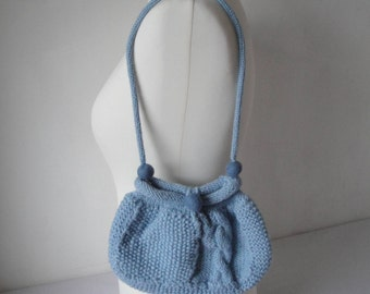 knitted blue purse, lined wool-knit bag, floral-lined purse, party accessory, cable textured purse, teenage accessory, bag with felt beads