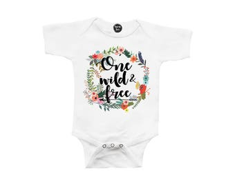 One Wild & Free - First Birthday - 1st Birthday - ONE Year Old - Toddler Girl - Floral Wreath - Baby Girls' Clothing - Birthday Girl