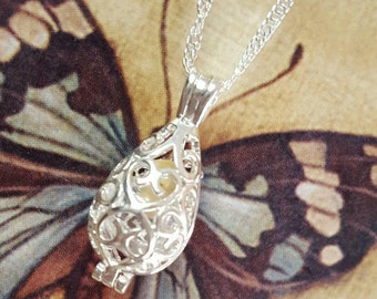 Filigree Teardrop Urn with Glass Ash Orb | Keepsake Necklace | Urn Jewelry | Cremation Jewelry