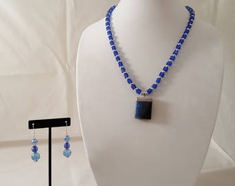 Blue Stone Pendant Necklace - Blue Necklace - Stone Necklace - Pendant Necklace - Blue Stone Necklace -Blue Earrings -Blue Stone Jewelry Set