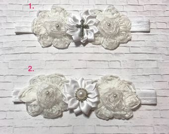 Girls-Baby-Newborn-White-Ivory-Rhinestone Cross-Pearl- Flower-Christening-Baptism Baby Bow-Fold-Over-Headband