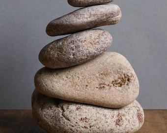 Stress Relief Gift - Meditation Altar - Zen Balance - Stacking Stone Cairn - Wabi-Sabi Home - Pottery Bowl