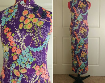 1960s Floral Cheongsam Style Maxi Dress Size XS/S