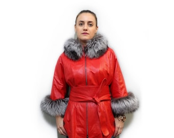 Red Leather Jacket with Fox Collar F727
