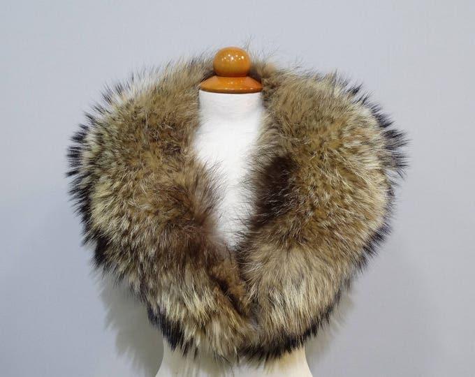 Real Large Fin Raccoon Fur Collar F739