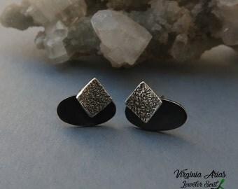 Silver Satellite Earrings, Oxidized silver stud earrings, Sterling silver earrings, Minimalist  Earrings, Minimal Jewelry, Modern Earrings