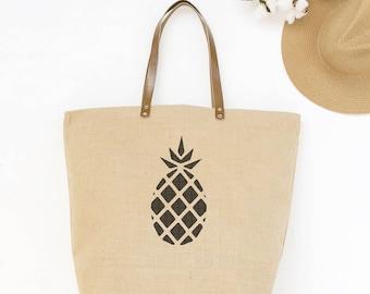 Pineapple Bag | Waterproof Beach Bag | Market Tote | Zippered Carryall | Tropical Jute Tote Bag | Gifts for Women Teacher Gifts for Teachers