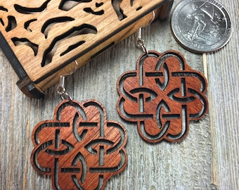 Laser cut wood earrings #15