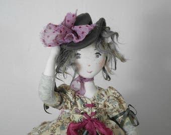 Artist doll, Handmade Doll, Rag Doll, Textile Doll, Art Doll - green - old lace - rag doll, Ooak, JUSTINE, hand made art doll