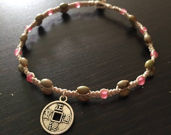 Prayer Coin Anklet, Chinese Prayer Coin Anklet, Coin Charm Anklet, Coin Anklet, Prayer Coin Jewelry, Hemp Charm Anklet, Gemstone Anklet