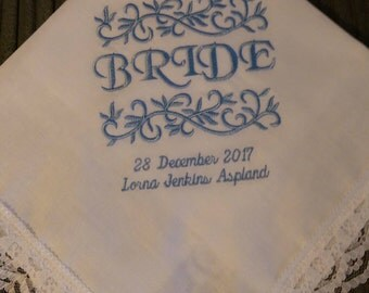 Bride Lace Hankie 'Something Blue'