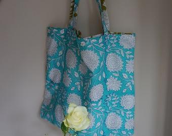Floral block print tote bags