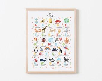 Alphabet Poster, Alphabet Print, Nursery Decor, ABC Print, Nursery Wall Art, Kids Wall Art, New Baby Gift, Can Be Personalised