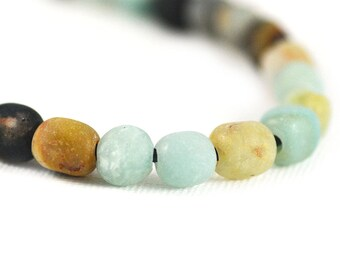 Black Gold Amazonite Gemstone Tourmaline Pyrite Matte Light Blue Black Rust Cream Nugget Large Hole 10x8mm