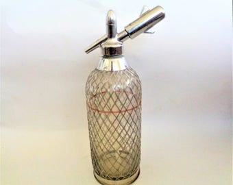 Soda Siphon, Seltzer Bottle, Glass Seltzer with Mesh Cover, Siphon Seltzer Bottle, Glass Seltzer, Bottle With Metal, 70s