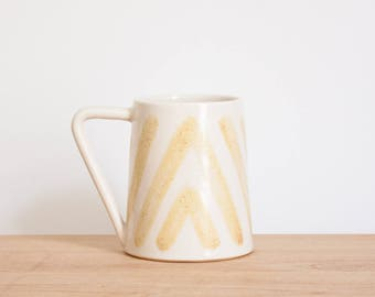 White & Yellow Boho Ceramic Coffee Mug by Barombi Studios