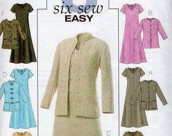 Free Us Ship Sewing Pattern Butterick 4341 Asian Inspired Dress Jacket Purse Nehru Stand up Collar Size 18 20 22 24  New (Last size left)