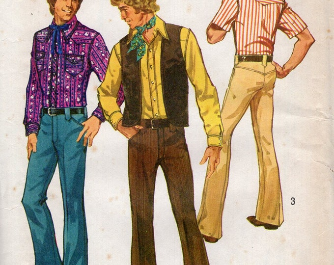 Simplicity 5048 Free Us Ship Sewing Pattern Vintage Vintage Retro 1970s 70s 1975 Men's Western Shirt Vest Yoked Jeans Pants Uncut Chest 36
