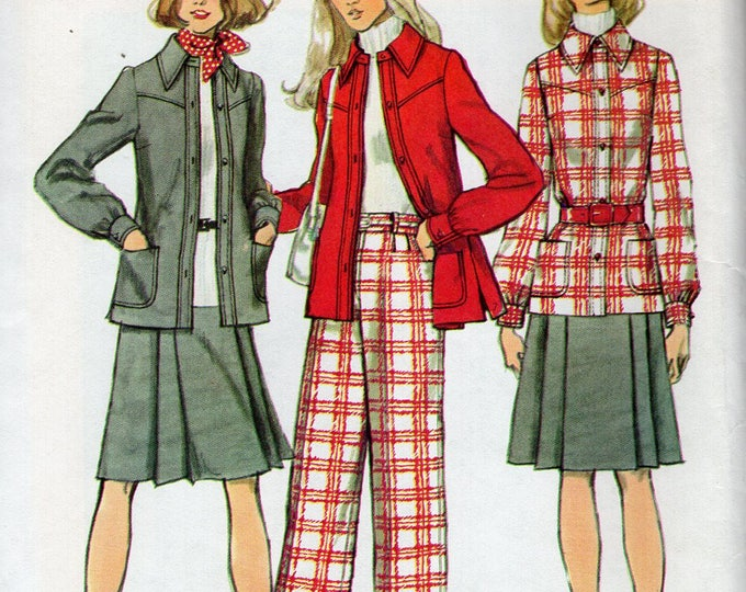 FREE US SHIP Simplicity 5455 Vintage Retro 1970's 70's Jacket Kilt Skirt Wide leg High Waist Pants Cuffed  Uncut  Sewing Pattern Bust 32.5