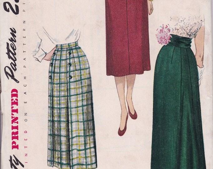 FREE US SHIP Waist 32  Vintage Retro 1950s 50s Original Sewing Pattern Simplicity 3341 Uncut Day Evening Skirt Back Button Cummerbund ff