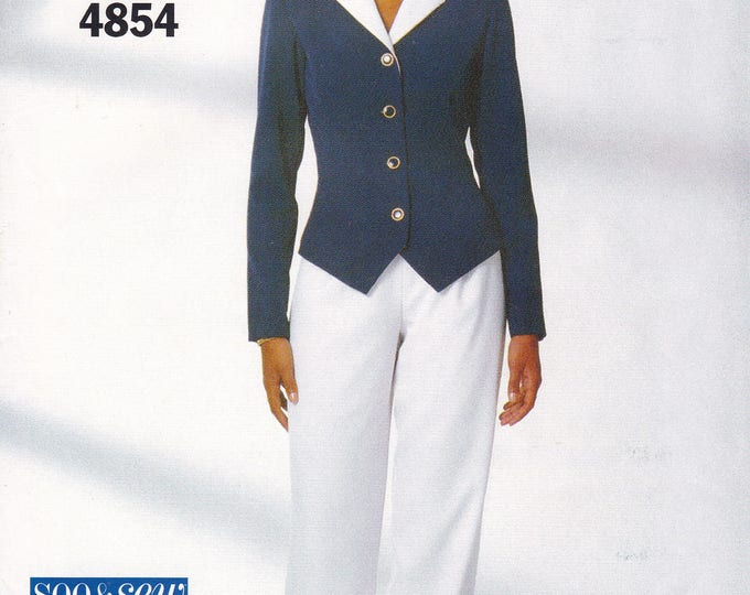 FREE US SHIP Butterick 4854 Sewing Pattern Waistcoat Jacket Pants See Sew Retro 1990s 90's Uncut Size 14 16 18 Bust 36 38 40 1996 90s