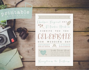 Printable Wedding Invitation | Sweet + Rustic