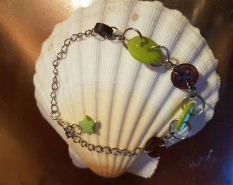 Bracelet Brown and lime green button