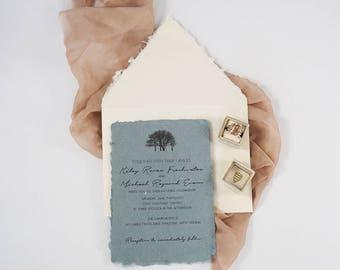 Handmade Deckle Edge (Not Torn) Tree Wedding Invitation