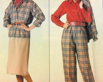 Vogue 0995 Burberry jacket, skirt, pants, and blouse, bust 36-40