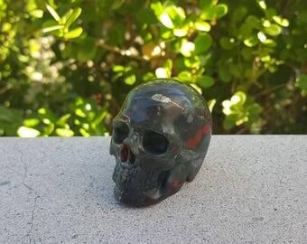 Bloodstone Skull Carving, Skull for Meditation, Bloodstone, Bloodstone Skull, Crystal Skull